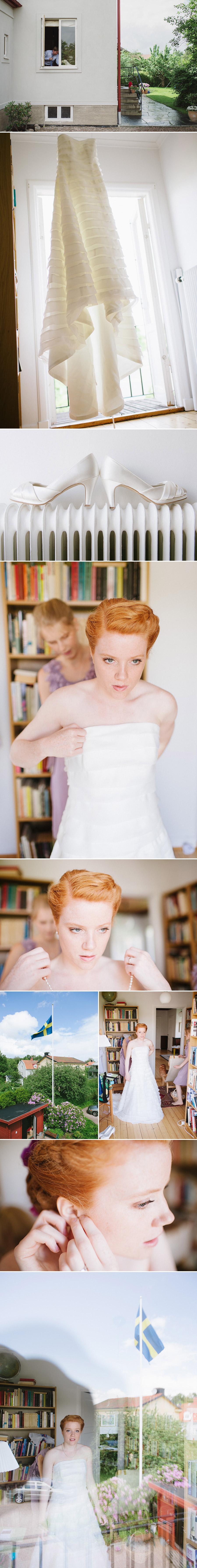 Bröllopsfotograf Alingsås Göteborg Förberedelser Bruden klänning skor