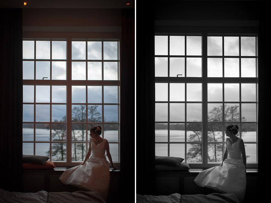 Bröllop Nääs Fabriker - Porträtt - brud och sjöutsikt från Hotellrummet bröllopsfotograf Göteborg