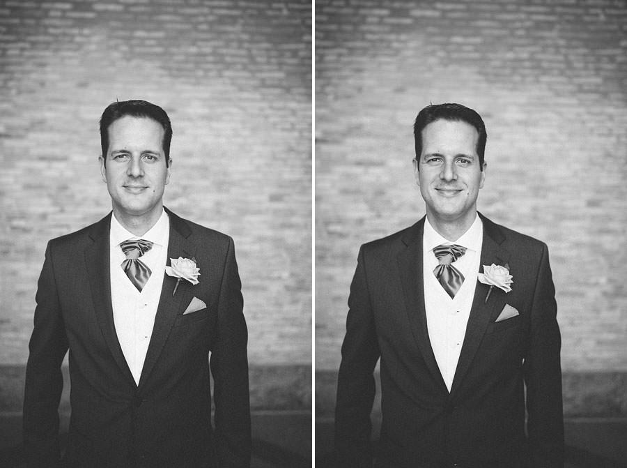 Bröllopsfotograf Göteborg - Porträtt på brudgummen vid Götaplatsen. Svartvitt
