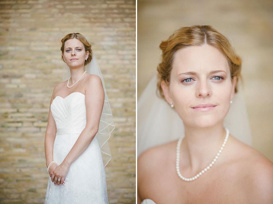 Bröllopsfotograf Göteborg - Porträtt på bruden nära avenyn i Göteborg