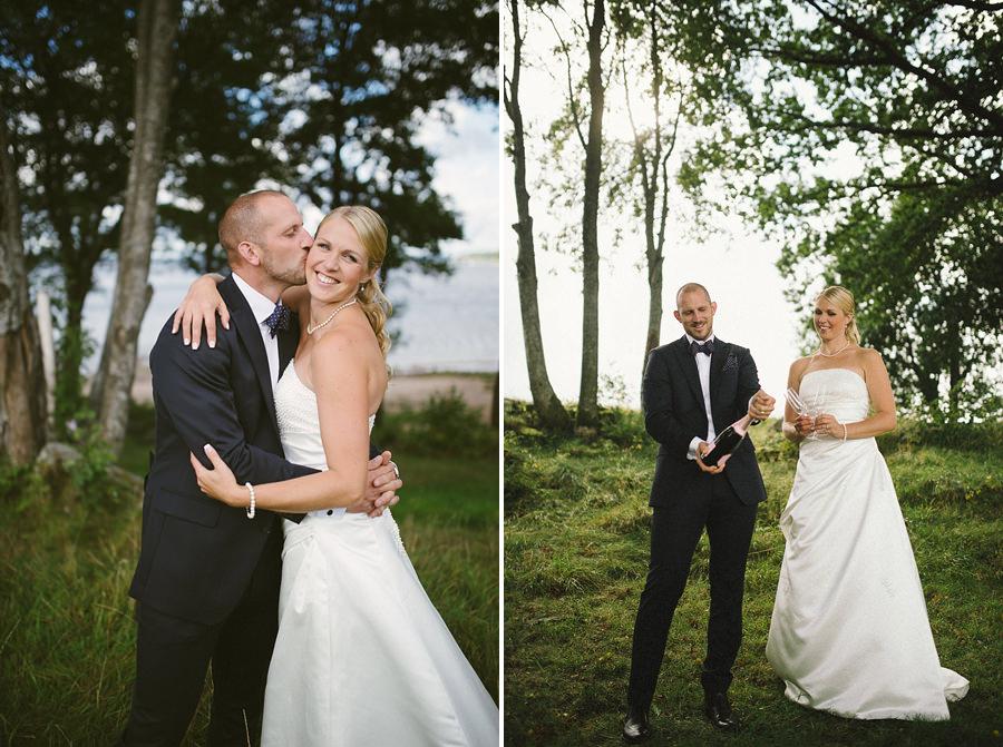 bröllopsfotograf  Gråbo, Göteborg - bröllopsparet och champagne