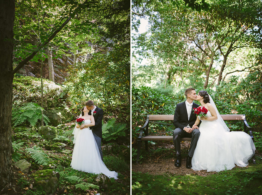 Bröllop i Botaniska Göteborg - porträtt på brudparet