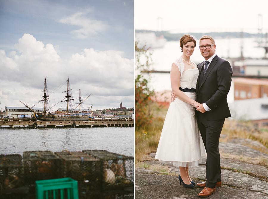 Bröllopsfotograf Eriksberg Göteborg - Brudparet och utsikt över älven