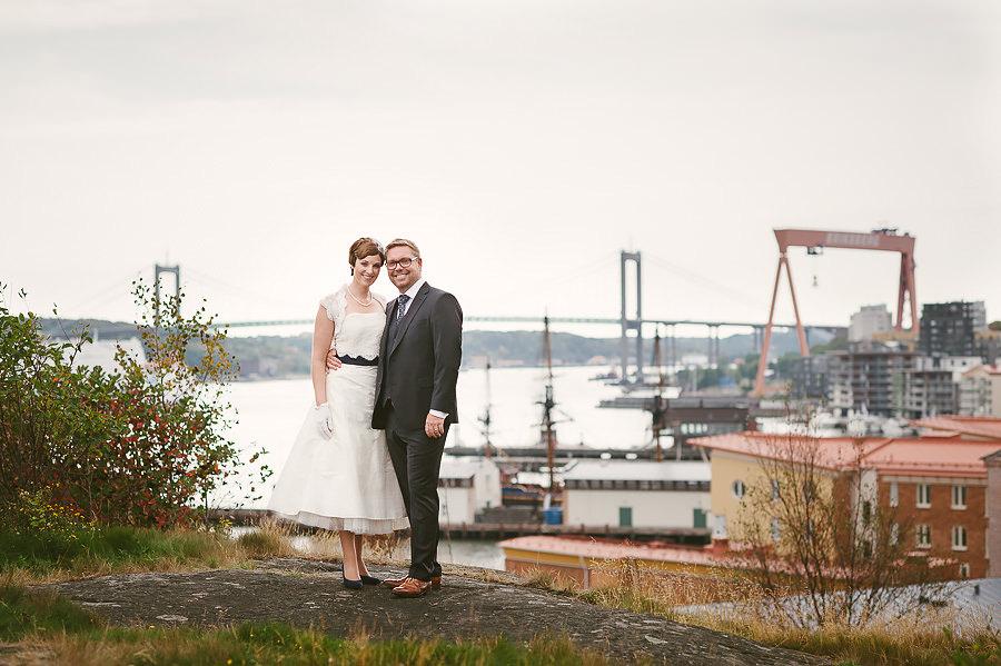 Bröllop Eriksberg Göteborg - porträtt på brudparet