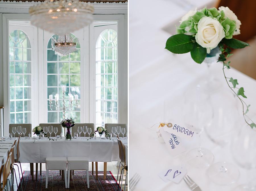 Bröllop på Villa Odinslund - interiör - dukning och detaljer - närbild