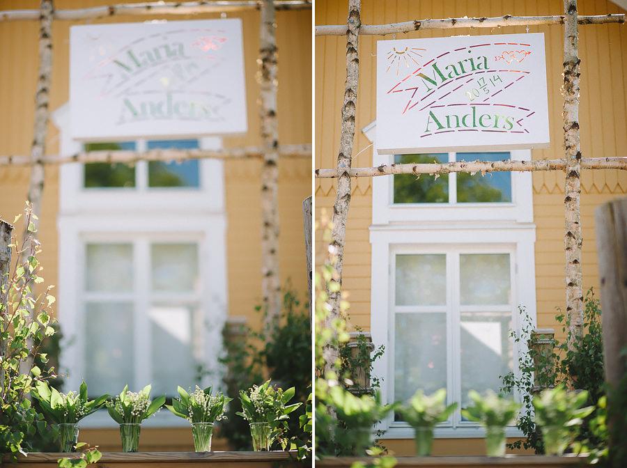 miljöbild på bröllop vid Sjölyckan, Tollered. DIY skylt