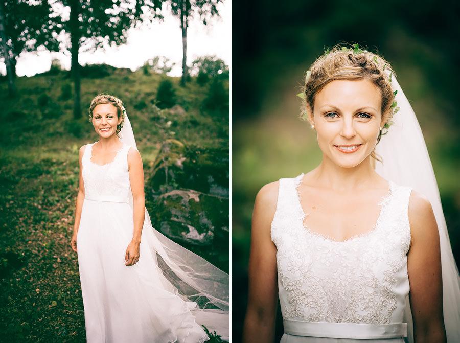Skogsbröllop vid Viaredssjön, Borås. Porträtt på bruden.