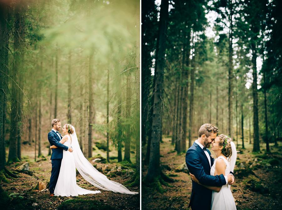Bröllop i trollskogen. Vid Viared utanför Borås. Bröllopsporträtt
