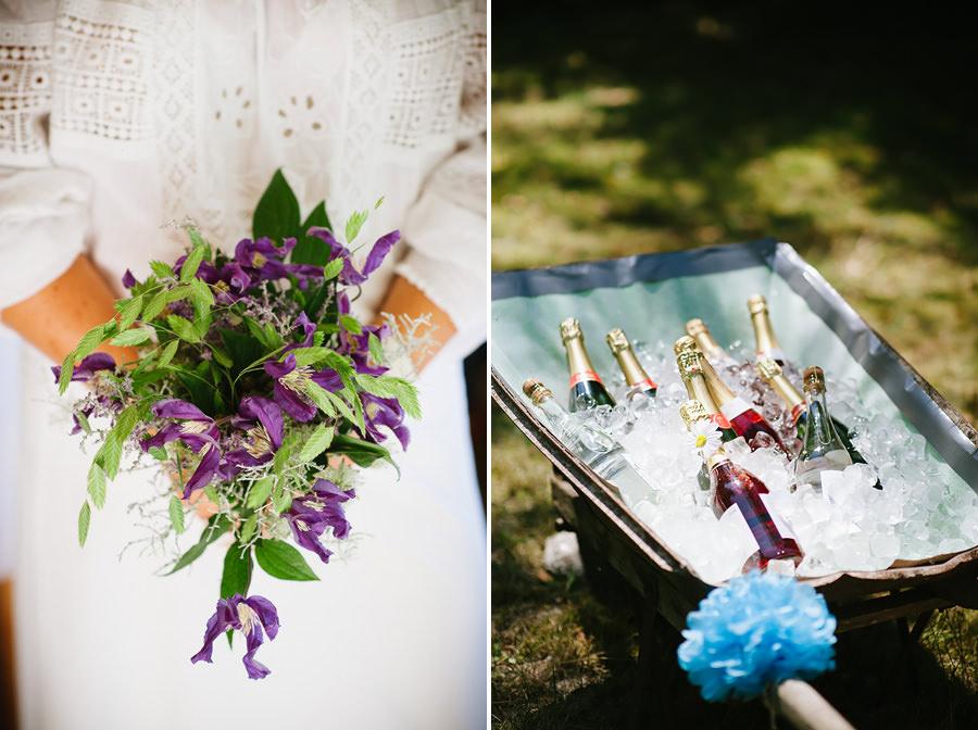 DIY bröllop i skogen - brudbukett med trädgårdsblommor