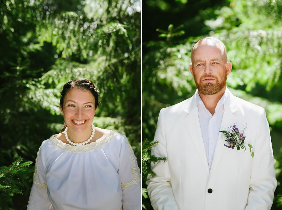 bröllopsporträtt i skogen - motljus reflektor