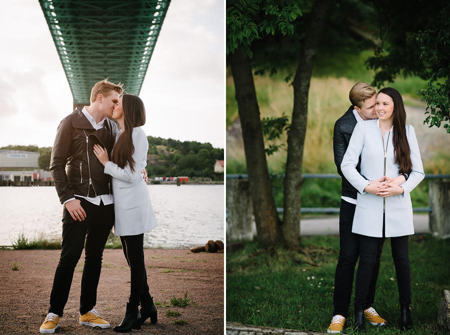 provfotografering vid Röda Sten, Klippan, Göteborg - Brudparet