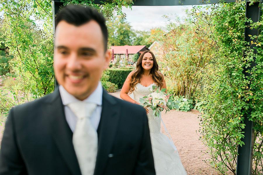höstbröllop i park - porträtt